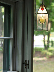 Stained glass electric lantern, photo copyright Steve Greene