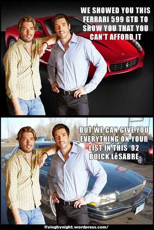 property brothers car ferrari buick meme