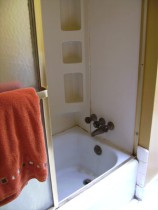 Plastic shower walls, rusting cast-iron tub, and gold-trimmed shower doors with a fixed mirrored side which was positioned across from the toilet.  Bathroom breaks were socially awkward, even when you were alone.