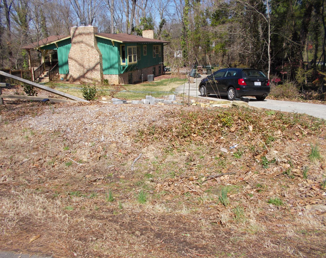 Landscape with rotting mulch and 2003 Honda Civic.