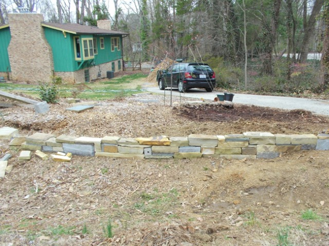 Stone wall, mostly finished.
